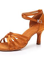 cheap -Women's Latin Shoes Satin Sneaker Slim High Heel Customizable Dance Shoes Dark Brown