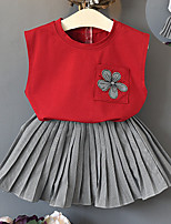 cheap -Toddler Girls' Solid Colored / Patchwork Sleeveless Clothing Set
