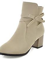 abordables -Femme Chaussures Daim Automne hiver Bottes à la Mode Bottes Talon Bottier Bout rond Bottine / Demi Botte Noeud Noir / Beige / Jaune