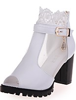cheap -Women's Shoes PU(Polyurethane) Spring & Summer Fashion Boots Boots Chunky Heel Peep Toe Booties / Ankle Boots Buckle White / Black