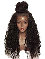 abordables -Peluca Lace Front Sintéticas Rizado Corte a capas Pelo sintético Con Baby Hair / Resistente al Calor / Elástico Negro Peluca Mujer Larga Encaje Frontal