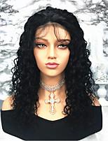 Недорогие -Remy Лента спереди Парик Бразильские волосы Кудрявый 150% плотность Длинные Жен. Парики из натуральных волос на кружевной основе