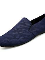 baratos -Homens sapatos Tricô / Lona Primavera / Verão Conforto Mocassins e Slip-Ons Preto / Cinzento / Azul