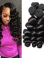 cheap -Brazilian Hair Wavy Natural Color Hair Weaves / Extension 4 Bundles 8-28 inch Human Hair Weaves Machine Made Best Quality / Hot Sale / 100% Virgin Natural Black Human Hair Extensions Women's / All