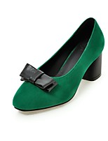 cheap -Women's Shoes Faux Leather Fall Basic Pump Heels Block Heel Round Toe Bowknot Black / Wine / Dark Green