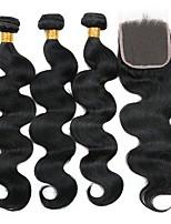 Недорогие -3 комплекта с закрытием Перуанские волосы Волнистый Натуральные волосы Человека ткет Волосы / Удлинитель / Волосы Уток с закрытием 8-22 дюймовый Нейтральный Естественный цвет Ткет человеческих волос
