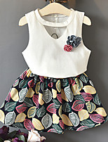 cheap -Toddler Girls' Solid Colored / Print / Color Block Sleeveless Clothing Set