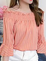 Недорогие -Жен. Рубашка Вырез лодочкой Однотонный / Цветочный принт