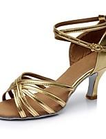 abordables -Mujer Zapatos de Baile Latino PU Sandalia / Tacones Alto Corte Tacón Carrete Personalizables Zapatos de baile Dorado
