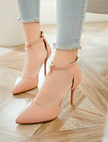 cheap -Women's Shoes PU(Polyurethane) Summer Comfort Heels Stiletto Heel Closed Toe Beige / Red / Pink