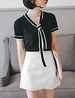 cheap -Women's Basic / Street chic T-shirt - Solid Colored / Color Block Bow
