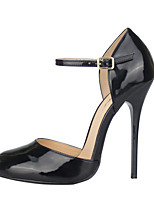 cheap -Women's Shoes PU(Polyurethane) Spring & Summer Basic Pump Heels Stiletto Heel Round Toe Buckle Black / Party & Evening / Party & Evening