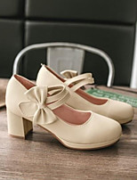 baratos -Mulheres Sapatos Couro Ecológico Verão Conforto Saltos Salto Robusto Dedo Fechado Laço Branco / Bege / Rosa claro