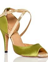 cheap -Women's Latin Shoes Satin Sneaker Animal Print Slim High Heel Dance Shoes Green / Dark Purple