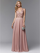 cheap -Sheath / Column V Neck Floor Length Chiffon Prom / Formal Evening Dress with Beading / Pleats by TS Couture® / Open Back
