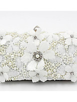 cheap -Women's Bags Cotton Evening Bag Lace / Pearls White