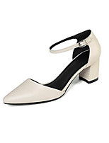 cheap -Women's Shoes Nappa Leather Spring Comfort Heels Chunky Heel Open Toe Buckle White / Black / Beige