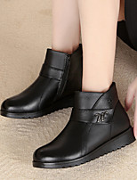 cheap -Women's Shoes Nappa Leather Fall Bootie / Fur Lining Boots Low Heel Booties / Ankle Boots Black