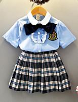 cheap -Kids Girls' Plaid Short Sleeve Clothing Set