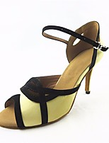 cheap -Women's Latin Shoes Satin Heel Slim High Heel Dance Shoes Yellow / Performance / Leather / Practice