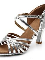cheap -Women's Latin Shoes PU(Polyurethane) Sandal / Heel Splicing Flared Heel Customizable Dance Shoes Silver