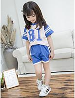 cheap -Kids Girls' Print / Patchwork Short Sleeve Clothing Set