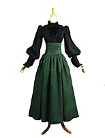 cheap -Rococo / Victorian Costume Women's Outfits Green / Black Vintage Cosplay 50% Cotton / 50% Polyester Long Sleeve Juliet Sleeve
