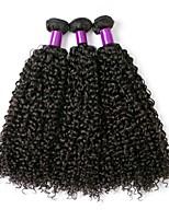 Недорогие -3 Связки Бразильские волосы Кудрявый Натуральные волосы Человека ткет Волосы / Накладки из натуральных волос 8-28 дюймовый Ткет человеческих волос Без шапочки-основы