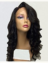 cheap -Remy Human Hair Lace Front Wig Brazilian Hair Wavy Wig Layered Haircut 130% Natural Hairline / For Black Women Black Women's Long Human Hair Lace Wig