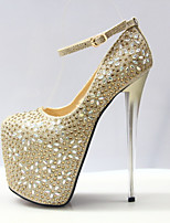 cheap -Women's Shoes Synthetics Fall & Winter Basic Pump Heels Stiletto Heel Round Toe Rhinestone / Buckle Gold / Wedding / Party & Evening