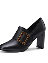 cheap -Women's Shoes Cowhide Spring & Summer Comfort Heels Chunky Heel Square Toe Black / Camel