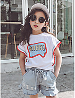 cheap -Kids Girls' Blue & White Print / Color Block Short Sleeve Clothing Set