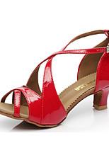 cheap -Women's Latin Shoes PU(Polyurethane) Heel Thick Heel Dance Shoes White / Red