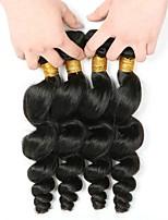 Недорогие -4 Связки Индийские волосы Волнистый Натуральные волосы Человека ткет Волосы / Накладки из натуральных волос 8-28 дюймовый Ткет человеческих волос Без шапочки-основы