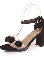 cheap -Women's Shoes PU(Polyurethane) Summer Comfort Heels Chunky Heel Black / Beige