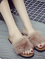 cheap -Women's Slippers Slippers Ordinary / Casual Mink Fur solid color