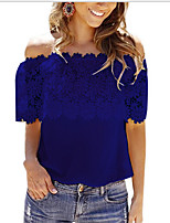 cheap -Women's Going out Blouse - Solid Colored Boat Neck