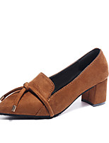 cheap -Women's Shoes Suede Summer Basic Pump Heels Chunky Heel Pointed Toe Black / Brown / Party & Evening