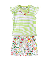 cheap -Kids Girls' Striped / Floral Sleeveless Clothing Set