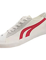 cheap -Men's Canvas / PU(Polyurethane) Fall Comfort Sneakers Color Block White / Black / White / Black / Red
