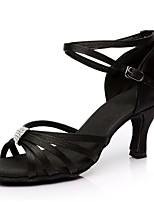 baratos -Mulheres Sapatos de Dança Latina Cetim Sandália / Salto Recortes Salto Carretel Personalizável Sapatos de Dança Preto