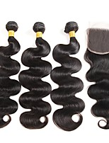 cheap -Peruvian Hair Wavy One Pack Solution 3 Bundles With  Closure Human Hair Weaves Extention Natural Black Human Hair Extensions Women's
