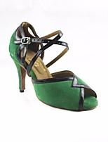 cheap -Women's Latin Shoes PU(Polyurethane) Heel Slim High Heel Dance Shoes Black / Green / Performance / Leather / Practice
