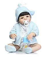 economico -NPKCOLLECTION Bambole Reborn Bambini 24 pollice Silicone per tutto il corpo / Vinile - Occhi marroni di impianto artificiale Per bambino Da ragazzo Regalo