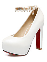 cheap -Women's Shoes PU(Polyurethane) Fall & Winter Basic Pump Heels Chunky Heel Round Toe Rhinestone / Pearl / Buckle White / Red / Pink / Party & Evening