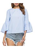 Недорогие -Жен. Бусины Рубашка Классический Однотонный