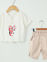 cheap -Kids Unisex Solid Colored / Print / Color Block Short Sleeve Clothing Set