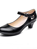 cheap -Women's Shoes Nappa Leather Spring / Summer Mary Jane Heels Chunky Heel Pointed Toe Buckle Black