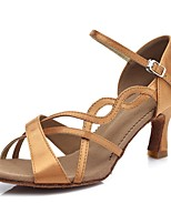 cheap -Women's Latin Shoes Satin Sandal / Heel Buckle / Lace Side Slim High Heel Customizable Dance Shoes Brown