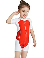 cheap -Girls' Rash Guard Dive Skin Suit UV Sun Protection, Quick Dry, UPF50+ Nylon / Spandex Short Sleeve Swimwear Beach Wear Diving Suit / Sun Shirt Patchwork Back Zip Swimming / Snorkeling / Water Sports